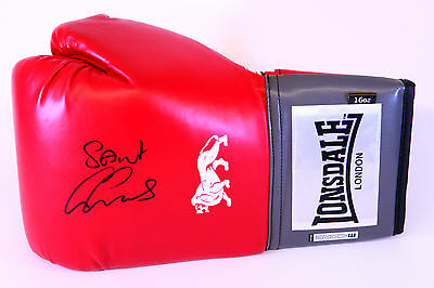 New George Groves Signed 16oz Red Lonsdale Boxing Glove