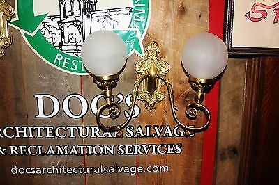 Antique Brass Wall Sconce Double Arm 10 Available Architectural Salvage frosted