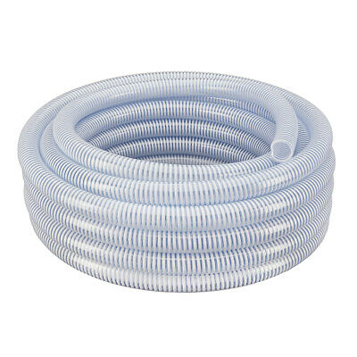 """1-1/2"""" x 25' - Flexible PVC Water Suction & Discharge Hose - Clear w/White Helix"""