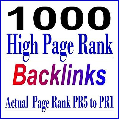 High PR Backlinks 1000  Actual Page Rank Permanent Backlinks, SEO Service