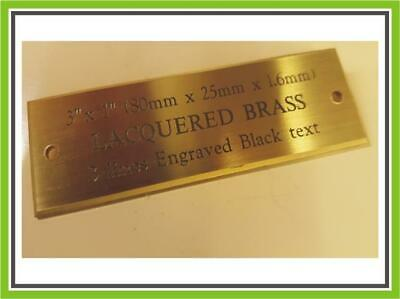 """3 x 1"""" ENGRAVED POLISHED BRASS BENCH PET MEMORIAL PLAQUE SIGN"""