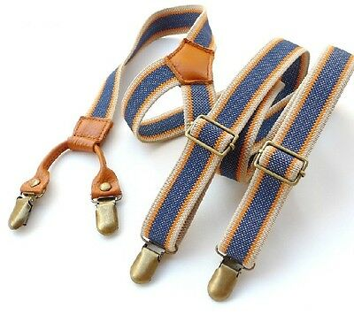 BDXJ2503 Men's Unisex Casual Striped Style Adjustable Clip-on Suspenders Braces