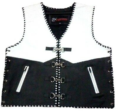 Mens Buckle Suede Leather Motorcycle Biker Leather Waistcoat Vest Hand Stitched