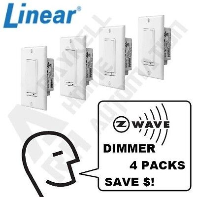 Linear Z-Wave LED/CFL Dimmer Switch 4 Pack - Model WD500Z-1