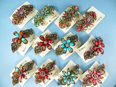 US SELLER-wholesale lot 20 hair barrette rhinestone crystals victorian bohemian