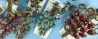 US SELLER-lot of 3 wholesale vintage Hair Claw Clip peacock rhinestone jewelry