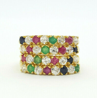 18ct Yellow Gold Sapphire, Ruby, Emerald and Cubic Zirconia 4 Band Ring