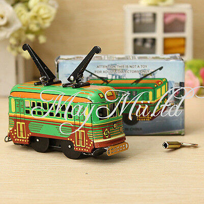 Vintage Clockwork Wind Up Metal Double Decker Bus Tinplate Toys Collectable E