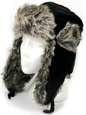 BLACK SUEDE FEEL TRAPPER HAT with SILVERY BROWN FAUX FUR TRIM 3 Sizes