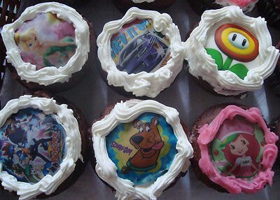 Custom Edible CUPCAKE Photo Toppers ICING Image Decoration (12) FREE SHIPPING