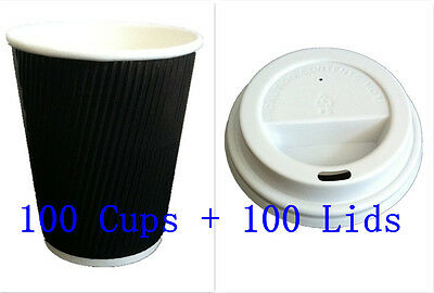 100set  8 oz Black Triple Ripple wall disposable paper coffee cups and lids