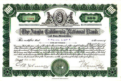 Anglo-California National Bank CA 1943 Stock Certificate