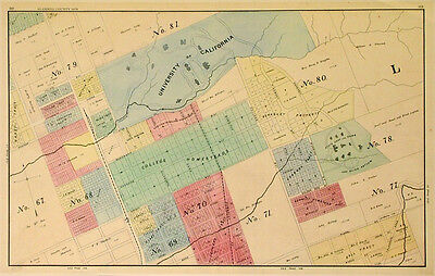 Reproduction UC Berkeley and campus housing map Alameda County 1878