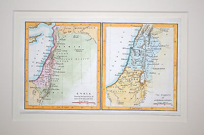 Antique map of Syria and kingdoms of Judah and Israel 1852 small matted arabia