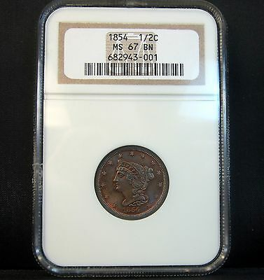 1854 Braided Hair 1/2 Cent ✪ Ngc Ms-67-Bn ✪ Half Uncirculated Gem L@@k◢Trusted◣