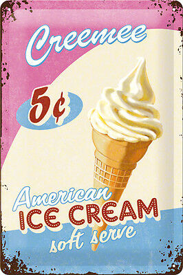 A4 Retro Tin Metal Embossed Sign 'ICE CREEMEE' Americana 20 x 30cm Vintage look