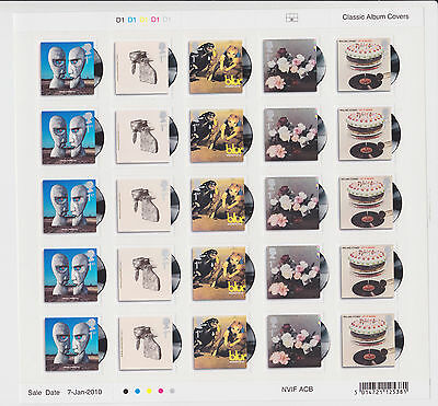 "GB 2010 ""Classic Album Covers"" SG 2999-3008 - MNH 1/2 sheets including Cyl No's"