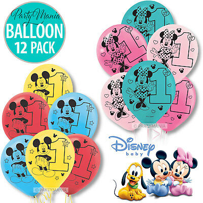 Mickey Mouse Or Minnie Mouse 1St Birthday Party Supplies Balloons ~ Pack Of 15