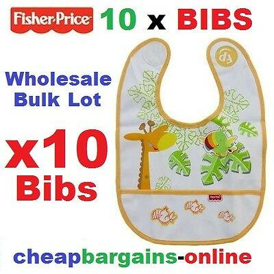 10 x FISHER PRICE BABY BIBS WHOLESALE BULK LOT OF 10 FITS 6 MONTHS+ BABY FEEDING