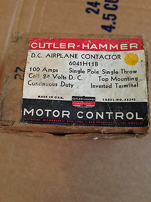 New Cutler Hammer D.C. airplane contactor, 604H11B, 100 amp, Single pole 24v DC