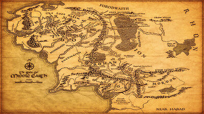 """Map of Middle Earth The Lord of the Rings Map Fabric poster 24"""" x 13"""" Decor 01"""