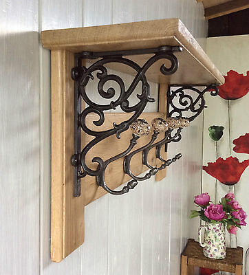 Vintage Style Coat Rack With Shelf Solid Oak Wood Country Barn Ceramic Hooks