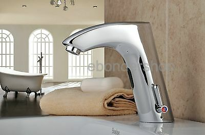 New Touchless Automatic Hands Free Bathroom Sink Tap Cold & Hot Sensor Faucet