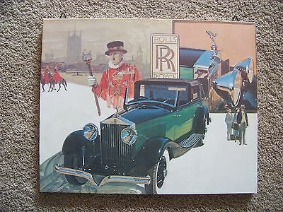Vintage Rolls Royce 20 X 16 Fredrix Painting on Canvas Wall Hanging Decor