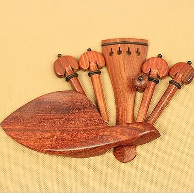 1set new natural rosewood 4/4 violin accessories peg tailpiece chinrest endpin