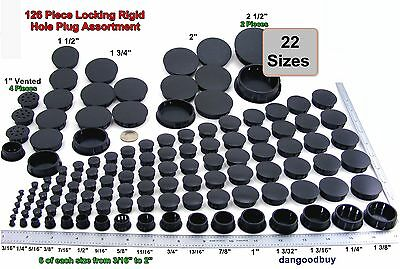 1 Locking Rigid Plastic Hole Plug Assortment  132 Pieces - 23 Sizes  Black Nylon