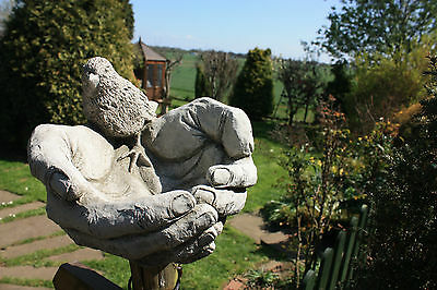 (New) Home & Garden Stone Bird In Hands~ Bird Bath Ornaments~ Bespoke Detailed