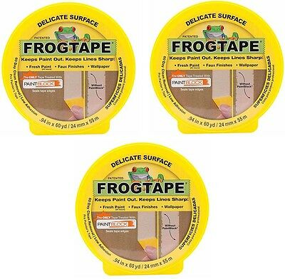 3x FrogTape Delicate Surface Painters Masking Tape Pack Set - Yellow -24mm x 41m