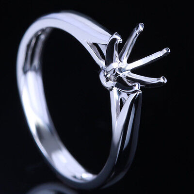 6Mm Round Cut Solitaire Ring Solid 10K White Gold Semi Mount Engagement Ring