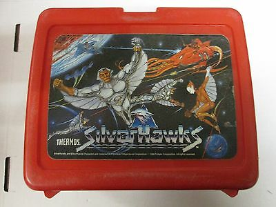 Vintage 1986 Silverhawks Thermos Plastic Red Lunchbox