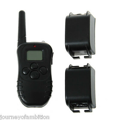 Rechargeable Training Collar Remote Control Shock Vibra 100LV Level For TWO Dog
