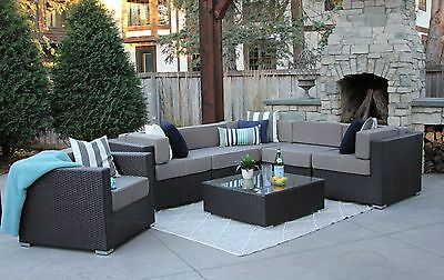 7PC All Weather Patio Set Modern Outdoor Sectional Sofa Furniture Rattan Wicker