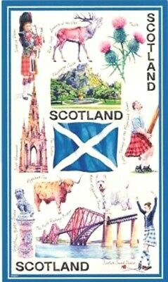 Iconic Scotland Tea Towel Souvenir Gift Flag Saltire Collage Edinburgh Scottish