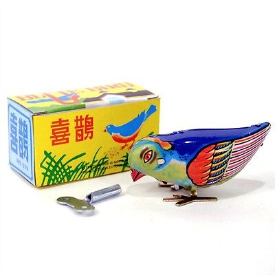 WIND UP BLUE BIRD Tin Toy Pecking Modern Retro Style NEW IN BOX Boys & Girls