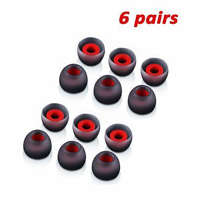 6 Pairs M-size Black^Red In-Ear Earphone Soft Silicone Earbud Bud Tips Pads Case