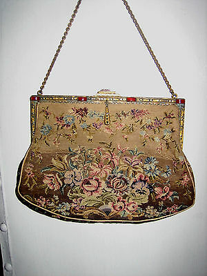 Antique Floral Tapestry Purse w/Carnelian & Marcasites Brass Frame