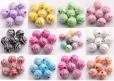 200pcs Candy Color Acrylic Ball Findings Spacer Loose Spiral Bead10mm Craft DIY