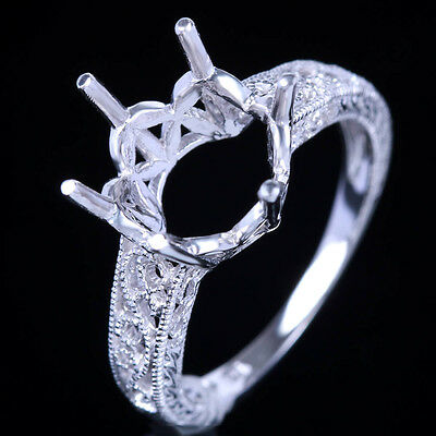 Silver 925 Round 9-10mm Semi Mount Filigree Antique Solitaire Engagement Ring
