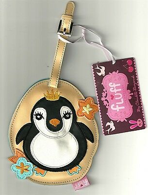 FAT PENGUIN KING CUTIES FLUFF LUGGAGE TAG NEW VEGAN VINYL NWT
