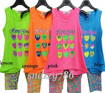 Kids Girls Casual Print Sleeveless Tunic Top+Short Legging Party Outfit Set 2-12