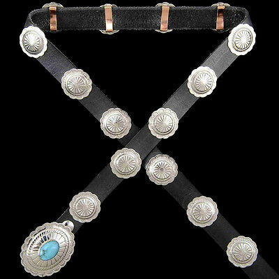 Navajo Indian Turquoise Silver Rocky Mountain Concho Belt.