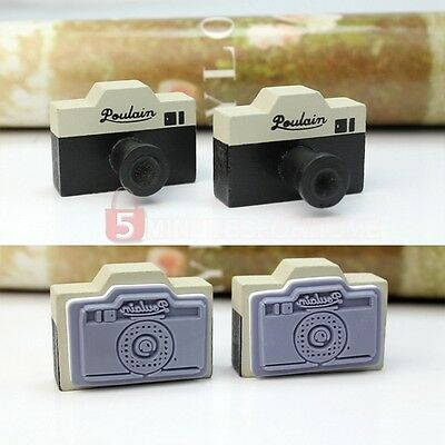 New 2Pcs Vintage Style Korea Gray Camera Wooden Rubber Stamp Craft Novelty Gift