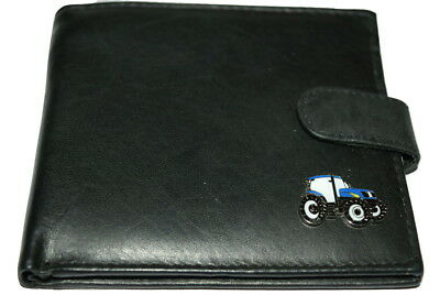 Ford / New Holland Blue Tractor Wallet Soft Leather Black/Brown Gift Boxed Farm