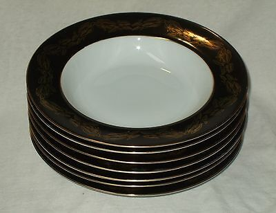 "Set Of 7 Narumi China Occupied Japan ""Golden Night"" Coupe Soup Bowls"
