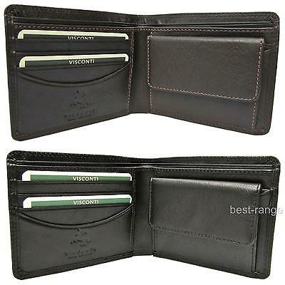Small Wallet Soft Real Leather Black or Brown Visconti New in Gift Box HT7