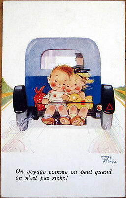 1930s Mabel Lucie Attwell/Artist-Signed Postcard: Hobo Children Ride Behind Car